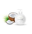 white jar and dispenser bottle with coconut vector image