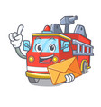 with envelope fire truck character cartoon vector image