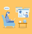 woman sitting at sofa learning online course vector image