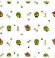 zombie head cartoon cute couple seamless pattern vector image