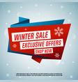 winter sale origami banner vector image