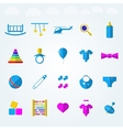 Flat icons for children toys vector image