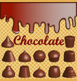 a waffle background with smudges of chocolate and vector image vector image