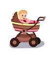 adorable baby sitting in a modern pram vector image