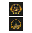 best seller label in two versions vector image