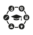 black education icon set vector image