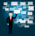 Businessman touching screen vector image