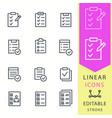checklist - line icon set editable stroke vector image