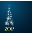 Christmas card with fir tree in 2017 vector image vector image
