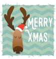Christmas deer happy face Cartoon funny character vector image