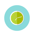 Clock Flat Circle Icon over Blue vector image