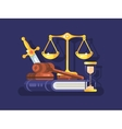 Court and law concept flat vector image