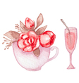 Cup with roses and wineglass vector image