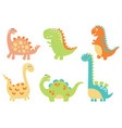 cute cartoon dino vector image vector image