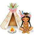 cute watercolor boho indian girl with flowers vector image