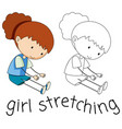 doodle girl character stretching vector image vector image