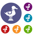 duck spring see saw icons set vector image vector image