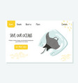 eco website template with ray fish stop plastic vector image