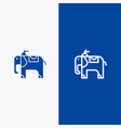 elephant animal line and glyph solid icon blue vector image vector image