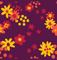 flat colour autumn flowers seamless pattern vector image vector image