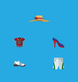flat icon clothes set of sneakers heeled shoe vector image vector image