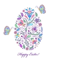 floral easter egg on white background vector image vector image