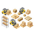 forklift cargo truck delivery equipment vector image