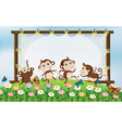 Frame design with four monkeys in field vector image vector image