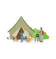 Friends Doing Barbecue With The Bonfire And Tent vector image vector image
