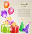 Gift boxes with gold ribbons and balloons vector image vector image