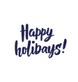 happy holidays text greeting quote isolated on vector image vector image