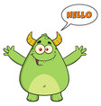 happy horned green monster cartoon character vector image vector image