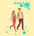 happy people walking among spring sakura blossoms vector image vector image