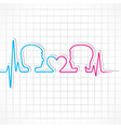 Heartbeat make malefemale face and heart symboL vector image vector image