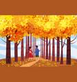 hello autumn autumn alley couple guy and girl vector image vector image