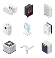 Home climate equipment isometric icon set vector image vector image