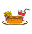 hot dog french fries and soda with straw fast food vector image vector image