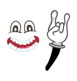 joyful smiley face with rock gesture vector image
