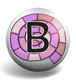 Letter b on round badge vector image