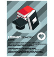 library color isometric poster vector image