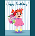 little girl with a bunch of flowers in the room vector image