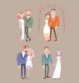 man and woman getting married vector image vector image