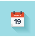 March 19 flat daily calendar icon Date vector image vector image