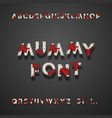 mummy bandage font with blood halloween sans vector image