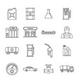 petrol station gas fuel icons set outline style vector image