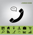 phone with speech bubble sign black icon vector image vector image