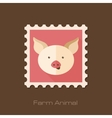 Pig flat stamp Animal head vector image vector image