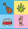 set instruments representative to hippie vector image vector image