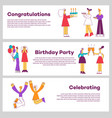 set of celebrating horizontal vector image vector image