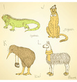 Sketch fancy animals alphabet in vintage style vector image vector image